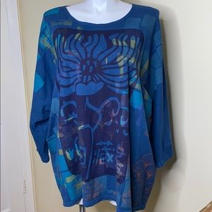 Blue Fish Hand Painted French Knit Top